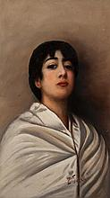 Ernesto Serra, Italian (1860-1918), Portrait of a young beauty, oil on canvas, 28 x 16 inches