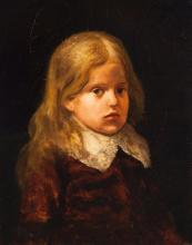 American School (19th century), Pair of portraits depicting a young boy and girl, oil paintings on board, 21 x 16 1/2 inches