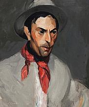 Elizabeth Grandin, American (1889-1970), Portrait of a man in a red scarf, oil on canvas, 24 x 19 1/2 inches