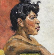 American School, 20th century, Profile portrait of a woman, oil on panel, 8 x 8 inches