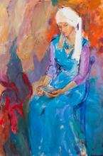 J. E. Brinkmeyer, American (20th century), Woman in a blue dress, oil on canvas, 35 1/2 x 23 1/4 inches