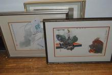 Collection of four Asian framed works of art.