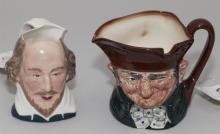 Two English character jugs, Royal Doulton and Staffordshire