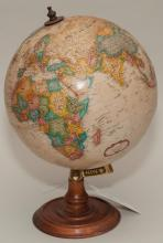 20th century topographical globe on wooden stand