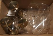 Collection of assorted items including an mber glass table lamp, glass shades and a pair of sconces