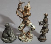 Three bronze figures, Chinese figure, Thai figure and a figure of an otter