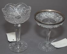 Two cut glass candy compotes on tall stems, one with a sterling silver rim