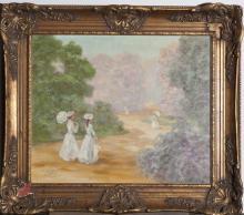 Gilt framed oil on canvas, figures on a path signed Saval