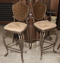 Pair of bar height chairs with shield backs