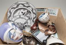 Collection of various items including a ceramic mask, three historic plates, ceramic ashtray with horse, and a variety of other items
