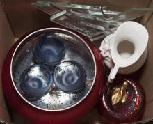 Collection of various items including a small porcelain pitcher, mercury glass style bowl, glass paperweight, and three brandy glasses