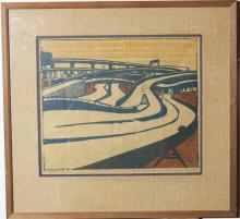 Elizabeth Cavanagh Cohen, St. Louis, American Landscape #4, 1967, Woodcut, signed and framed, 15 x 18 inches