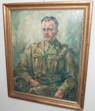 Framed oil painting of a General,  artist signed