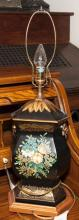 Table lamp in the form of an urn with painted flower motif