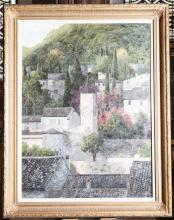 Gilt framed oil painting, signed by artist, featuring houses on a hillside landscape - 48 x 37