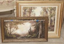 Two landscape paintings on canvas, both framed