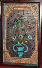Stained glass panel, framed; 36 x 22 inches; imperfections