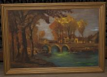 Landscape painting with a stone bridge over a river, framed