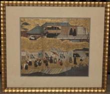 Asian print, gilt framed