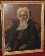 Framed oil on canvas, seated female