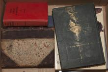 Collection of books, The works of Dickens, two reference books on bronzes, Hemiingway, Swiss Family Robinson and Teddy Roosevelt cam...