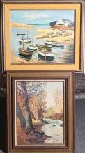 Two framed oils on canvas and canvas board, seascape and landscape, both signed