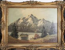 Gilt framed oil on board, Alpine landscape, signed R
