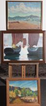 Three framed oil paintings, coastal scene signed lower right