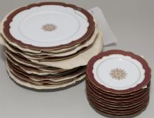 (22) French handpainted, gilt rim plates made for the Bell and Richardson Co, Toledo, Ohio, Circa (1900)