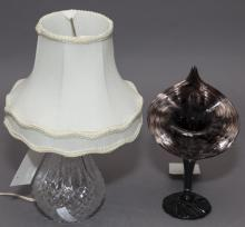 Two pieces, pressed glass table lamp and a hand blown art glass vase