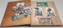 Early 20th century scrap book containing various old ephemera and post cards