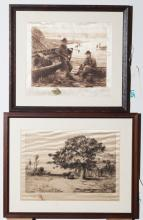 Pair of early 20th century silk engravings, depicting a pastoral landscape and clam diggers, each signed in pencil, framed