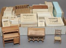 Large collection of miniature doll house furniture
