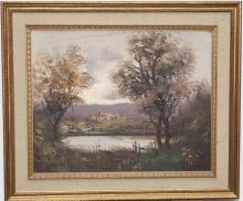 Early 20th century, River landscape, oil on masonite, 15 1/2 x 19 1/2 inches