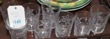 Eight etched glass glasses