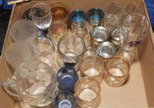 Collection of assorted glassware in various patterns