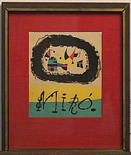 After Joan Miro, Spanish (1893-1983), color lithograph, 9 x 7 1/2 inches