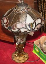 Table lamp with slag glass shade