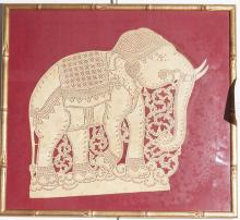 Indian paper cut out of an elephant, mounted on a red ground and gilt framed.