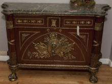 French design server with composite top and all arounf heavy ormolu mounts and a pair of short drawers over a pair of cupboard doors