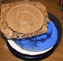 Collection of various plates including four cobalt blue chargers