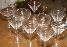 Collection of various martini glasses including six Manhattan glasses
