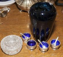 Collection of various items including an art glass vase and four salts with cobalt blue inserts