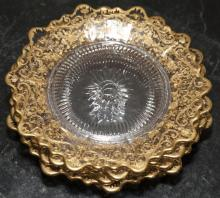 Six French design small plates with gold gilt borders