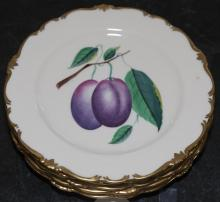 Six hand painted plates of fruit, artist signed