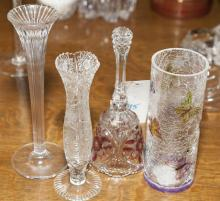 Four vases and a pressed glass bell
