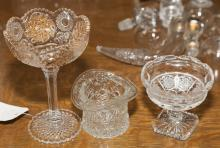 Two compote candy dishes along with a dish in the form of a tophat