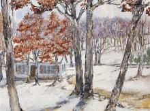 Viola K. Poth, American, 20th century, House in winter landscape, 1974, oil on canvas, 18 x 24 inches