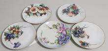 Six hand painted plates stamped Bavaria