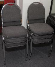 Collection of six chrome and upholstered stack chairs
